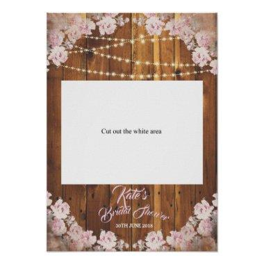 Rustic Floral Light Bridal Shower cut Photo Booth Poster