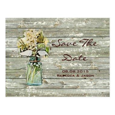 rustic floral mason jar wedding save the date post