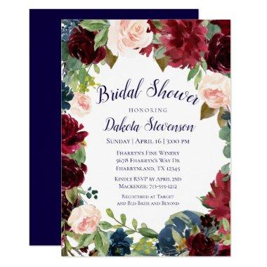 Rustic Floral | Navy Burgundy Wreath Bridal Shower Invitations