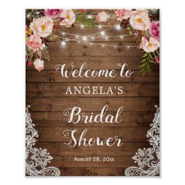 Rustic Floral String Light Lace  Sign