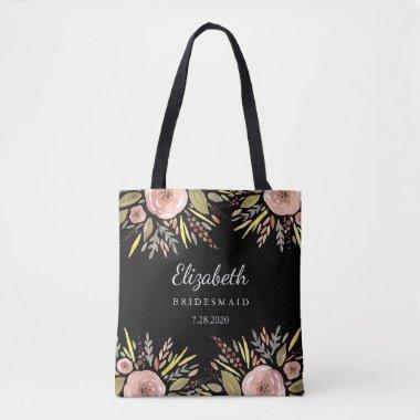 Rustic Floral Wedding Blush Roses Bridesmaids Tote Bag