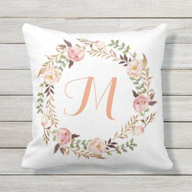 Rustic Floral Wreath Monogram Outdoor Pillow