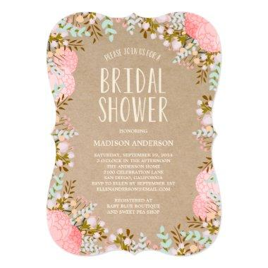 Rustic Flowers | Bridal Shower Invitations