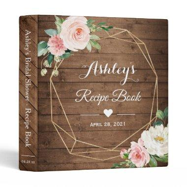 Rustic Geometric Floral Bridal Shower Recipe Book 3 Ring Binder