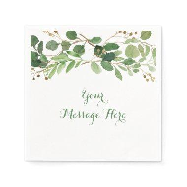 Rustic Green Floral  Napkin