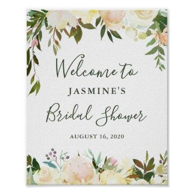 Rustic Greenery Floral  Welcome Sign