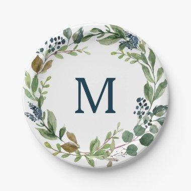 Rustic Greenery Monogram Bridal Shower Paper Plate