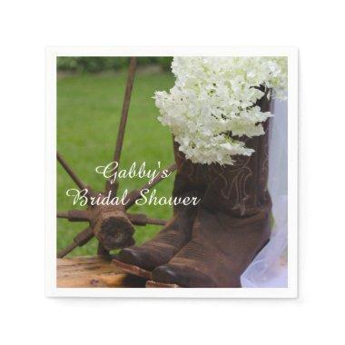 Rustic Hydrangea and Cowboy Boots Bridal Shower Napkin