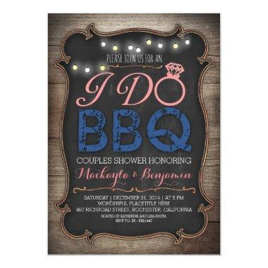 rustic I do BBQ couples shower Invitations