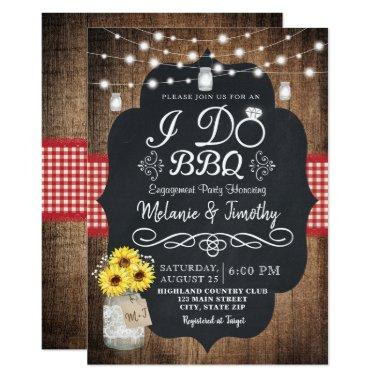 Rustic I Do BBQ Sunflower Engagement Invitations