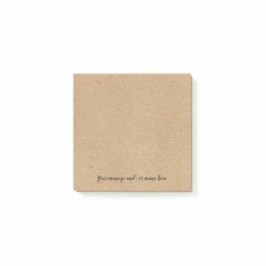 Rustic Kraft paper style personalised Post-it Notes