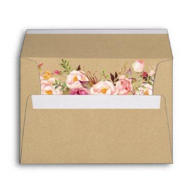 Rustic Kraft Vintage Pink Floral Wedding Envelope