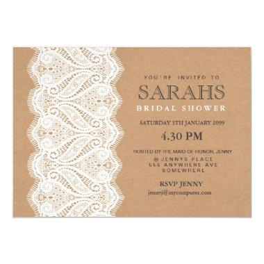 Rustic Lace & Kraft Bridal Shower Party Invite
