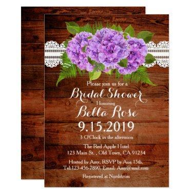 Rustic Lace Purple Hydrangea  Invites