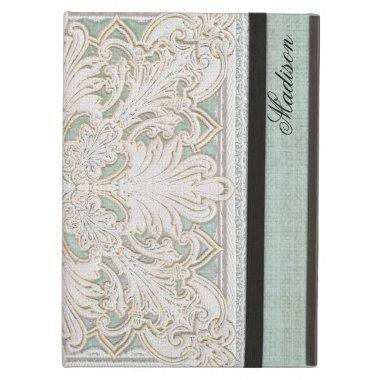 Rustic Lace w Aged Vintage Linen Country Elegance iPad Air Cover