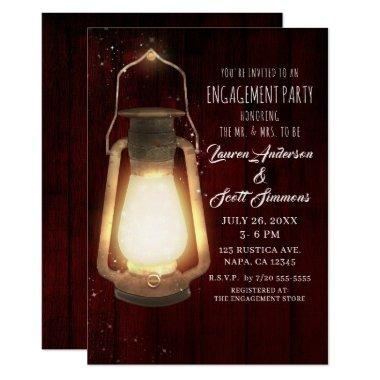 Rustic Lantern Lights Cherry Wood Engagement Party Invitations