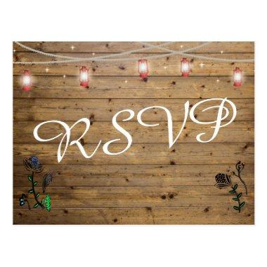 Rustic Lantern Lights RSVP Post