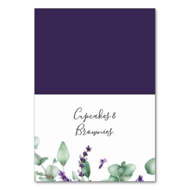 Rustic Lavender and Eucalyptus Buffet Food Labels Table Number