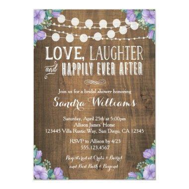 Rustic Lavender Floral Bridal Shower Invitations