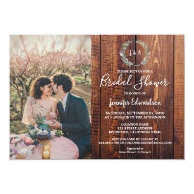 Rustic leaves on wood monogram photo Bridal Shower Invitations