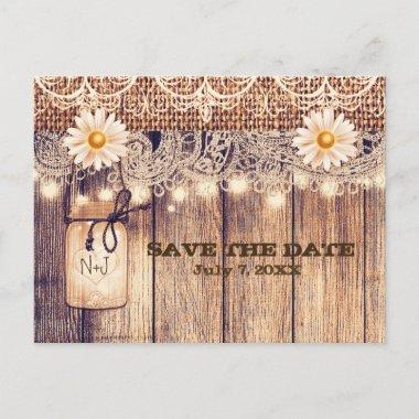 Rustic Lighted Mason Jar & Daisies Save the Date Announcement Post