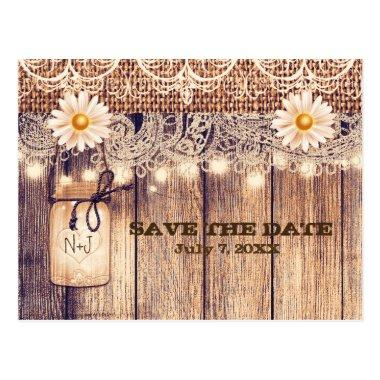 Rustic Lighted Mason Jar & Daisies Save the Date Post