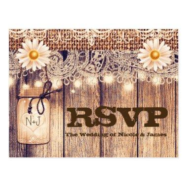 Rustic Lighted Mason Jars Daisies & Lace RSVP Post
