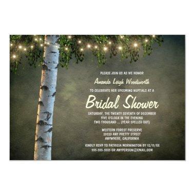 Rustic Lights Birch Tree Bridal Shower Invitations