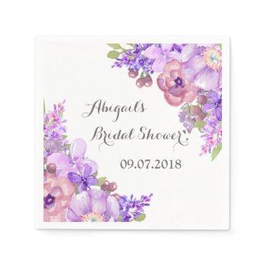 Rustic Lilac Purple Floral  Napkins