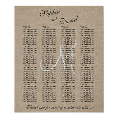 Rustic Linen Canvas Wedding Monogram Seating Chart
