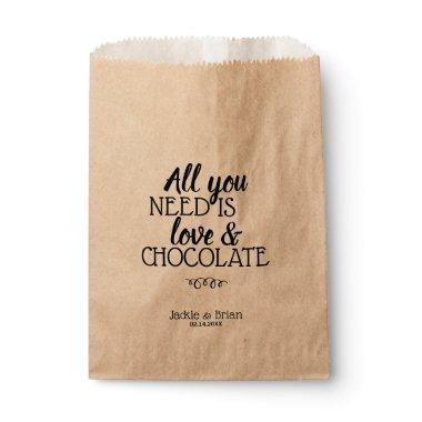 Rustic Love Chocolate Personalized Wedding Treat Favor Bag