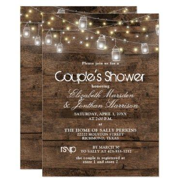 Rustic Mason Jar and String Lights Couple's Shower