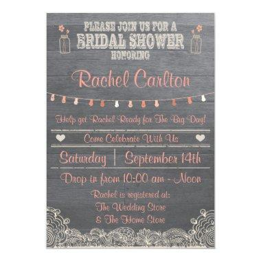 Rustic Mason Jar Bridal Shower Invitations Coral