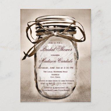 Rustic Mason Jar  Invitation POST