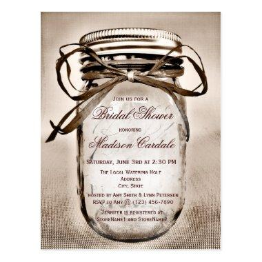 Rustic Mason Jar  Invitation POST