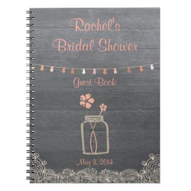 Rustic Mason Jar  Notebook Coral