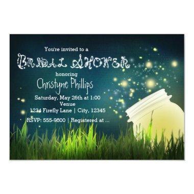 Rustic Mason Jar & Fireflies  Invite
