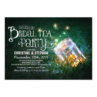 rustic mason jar & fireflies bridal tea party Invitations