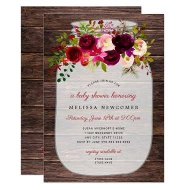 Rustic Mason jar floral baby shower invitations