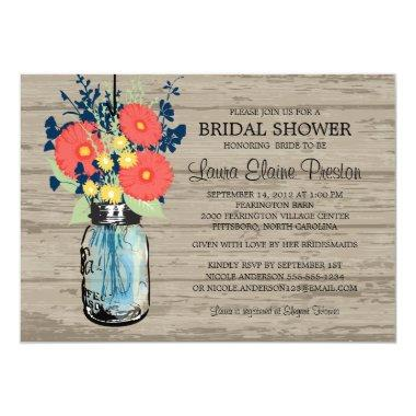 Rustic Mason Jar Gerber Daisies Bridal Shower Invitations