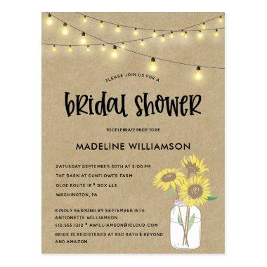Rustic Mason Jar Kraft Bridal Shower Invitation PostInvitations