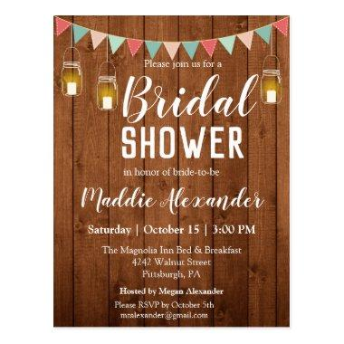 Rustic Mason Jar Lights Bridal Shower Invitation PostInvitations