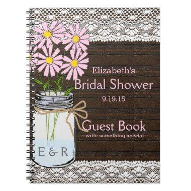 Rustic Mason Jar Pink Flowers Shower Guest Book |