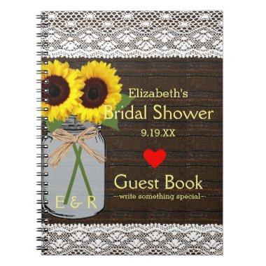 Rustic Mason Jar Sunflowers Shower Guest Book |