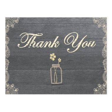 Rustic Mason Jar Thank you postInvitations