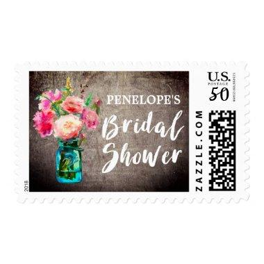 Rustic Mason Jar with Flower Bouquet  Postage