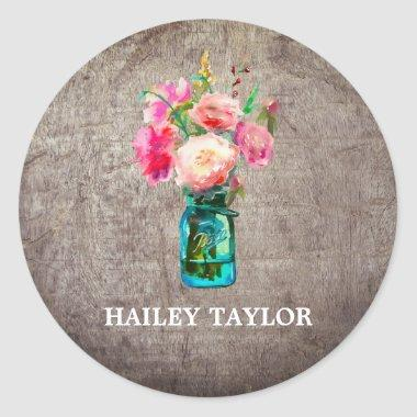 Rustic Mason Jar with Flowers Name Classic Round Sticker