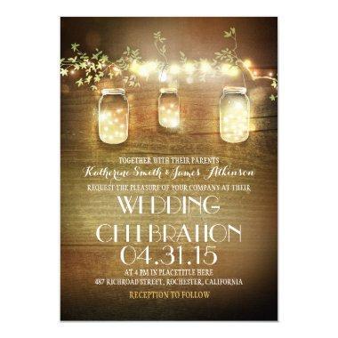 Rustic Mason Jars String Lights Elegant Wedding