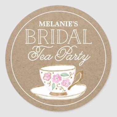 Rustic Modern Bridal Tea Party |  Classic Round Sticker