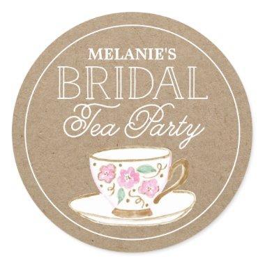 Rustic Modern Bridal Tea Party |  Classic Round Sticker